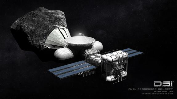 This illustration depicts Deep Space Industries' Harvestor class spacecraft for asteroid mining.