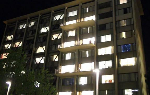 Derek Low's automated dorm room in party mode as seen from outside the UC Berkeley dorm.