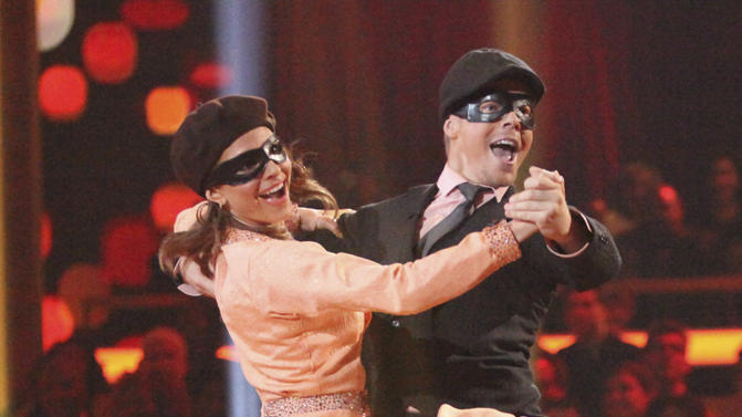"Derek Hough and Maria Menounos perform on ""Dancing With the Stars."""