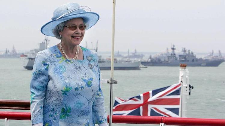 Britain's Queen Elizabeth II smiles aboard the HMS Endurance as she reviews the fleet in Portsmouth, Britain on June 28, 2005