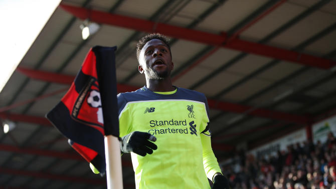 Liverpool's Divock Origi celebrates scoring their second goal