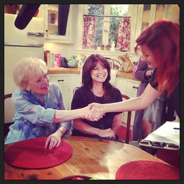 Betty White Yahoo! TV Instagram: #latergram from my fabulous interview with Jennie at @YahooTV. -Betty #bettywhite #hotlive #hotincleveland #tvland #setvisit #valeriebertinelli.