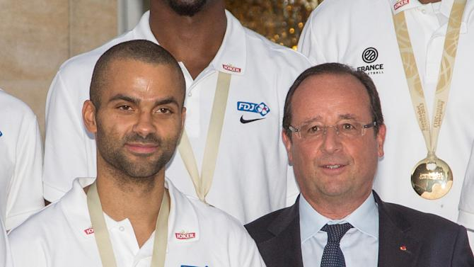 France Basketball Team Visit Elysee Palace After Winning The 2013 EuroBasket Championship