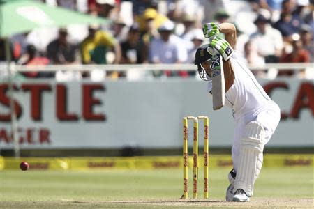 South Africa's du Plessis plays a shot during the third day of the third test cricket match against Australia at Newlands Stadium in Cape Town