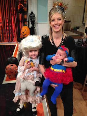 Glam Slam's Ryan Patterson with daughter Harlow as Marie Antoinette and daughter Jasper as Super Girl on Access Hollywood Live -- Access Hollywood