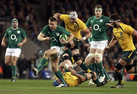 Ireland's Bowe breaks with the ball against Australia during their International rugby union match in Dublin