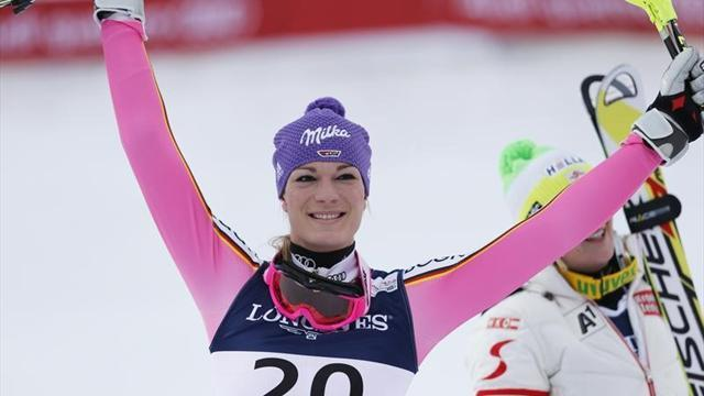 Alpine Skiing - Hoefl-Riesch extends World Cup lead with downhill win in Italy
