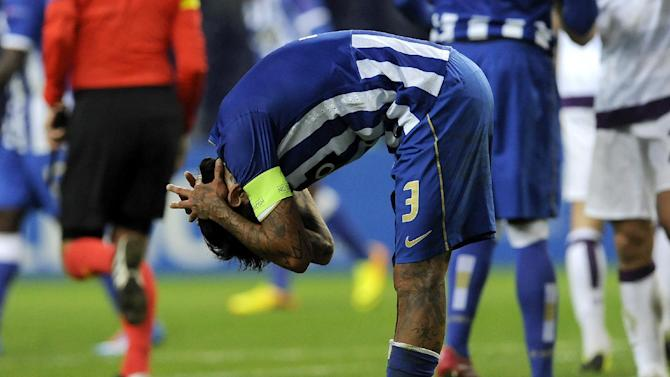 Porto's Lucho Gonzalez reacts after their 1-1 draw with Vienna during the Champions League group G soccer match between FC Porto and Austria Vienna Tuesday, Nov. 26, 2013, at the Dragao stadium in Porto, northern Portugal