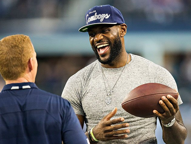 LeBron James, and pigskin. (Getty Images)