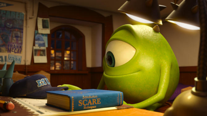"This film publicity image released by Disney-Pixar shows the character Mike, voiced by Billy Crystal, in a scene from ""Monsters University."" (AP Photo/Disney-Pixar)"