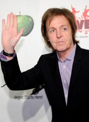 "Paul McCartney attends the fifth anniversary celebration of ""The Beatles Love"" by Cirque du Soleil' show at the Mirage Hotel & Casino, Las Vegas, June 8, 2011 -- Getty Images"
