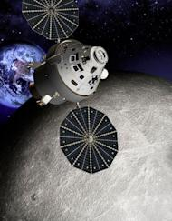 This artist's conception shows an Orion capsule at the L2 point on the farside of the moon.