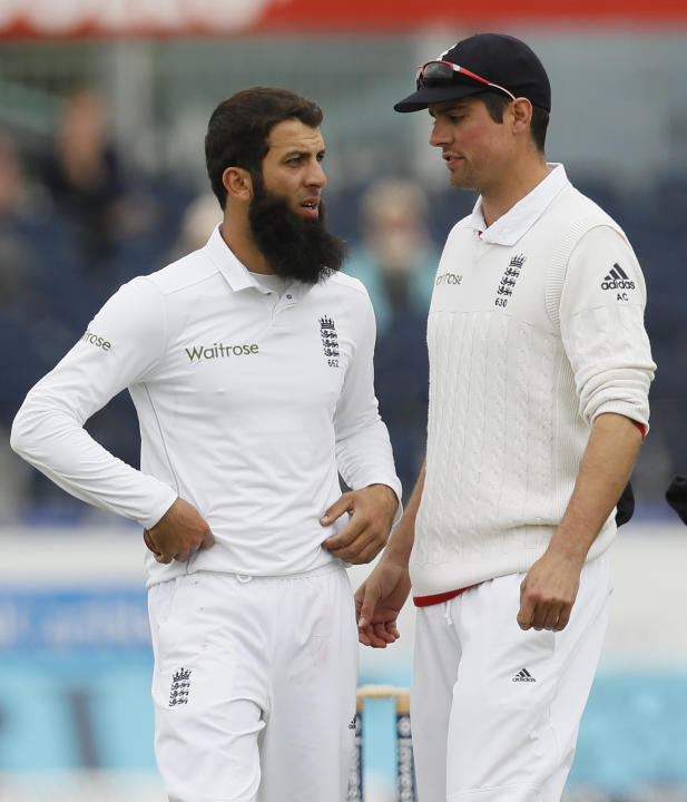 England's Alastair Cook and Moeen Ali