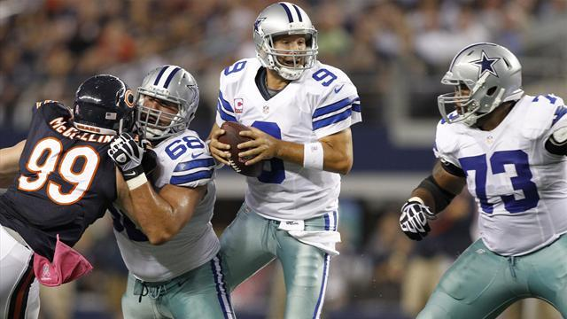 Bears feast on Romo mistakes to rout Cowboys