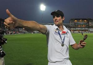 England's cricket captain Alastair Cook acknowledges the crowd after the fifth Ashes cricket match against Australia at the Oval cricket ground, in London August 25, 2013. REUTERS/Anthony Devlin/Pool/Files