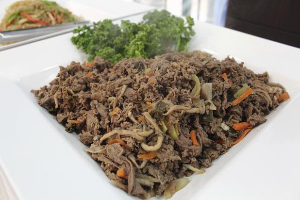 Bulgogi is one of the most popular Korean dishes now being enjoyed all across the world. It's thinly sliced meat which has a or cooked on the grill. It's even delicious stir-fried, and the tender