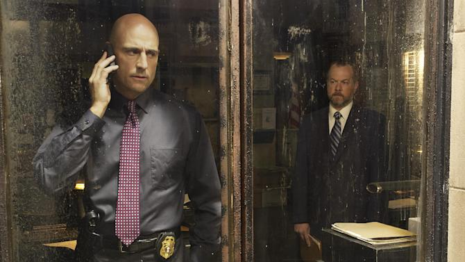 """This publicity image released by AMC shows Mark Strong as Frank Agnew, left, and David Costabile as Simon Boyd in a scene from """"Low Winter Sun,"""" premiering Aug. 11, 2013. (AP Photo/AMC, Frank Ockenfels)"""