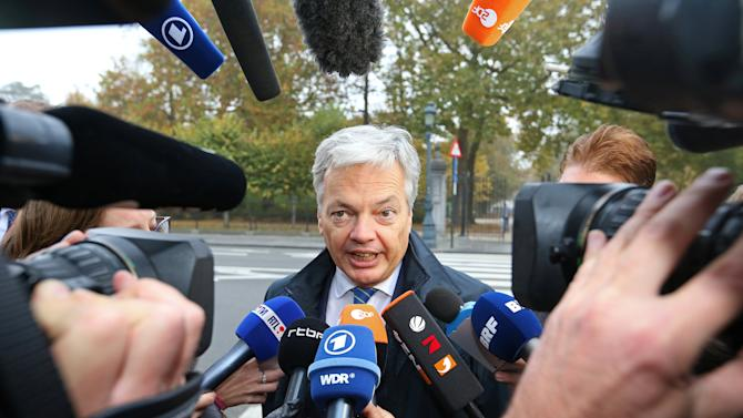 Belgium's Foreign Minister Didier Reynders arrives at a meeting on the CETA at the Lambermont Residence in Brussels