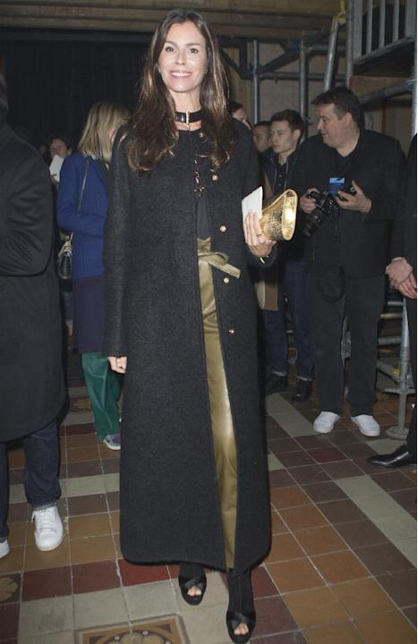 Brazilian fashion writer Christina Pitanguy arrives at Lanvin's ready-to-wear Fall-Winter 2015/2016 fashion collection, presented as part of the Paris Fashion Week, Thursday March 5, 2015, in Pari