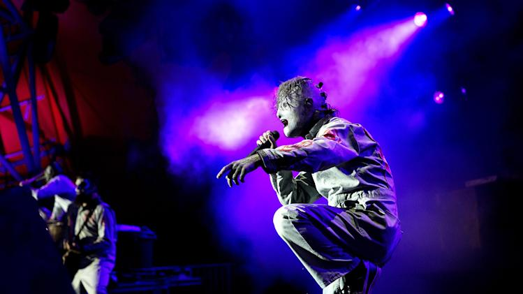 US Slipknot perform at the Roskilde Festival in Roskilde, Thursday, July 4, 2013. The festival ends Sunday. (AP Photo/POLFOTO, Thomas Borberg) DENMARK OUT