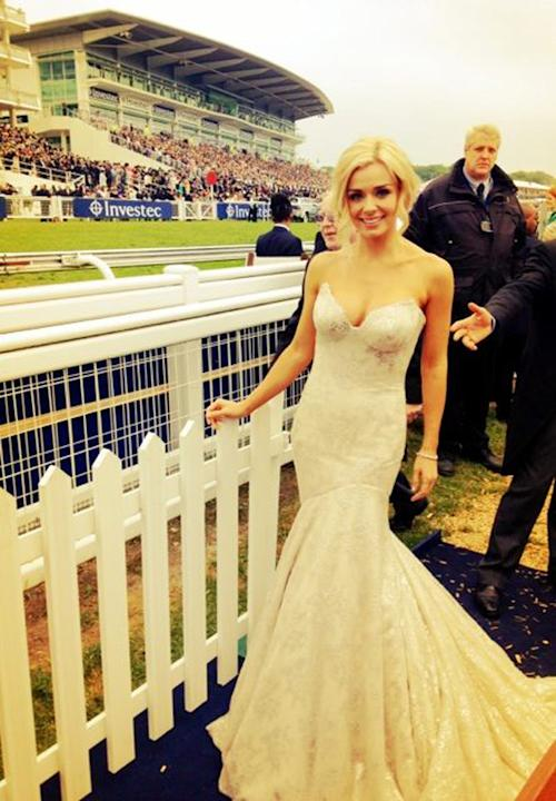 Celebrity photos: Katherine Jenkins ignored the comments about her weight loss over the weekend, appearing at Epsom looking utterly divine in this white dress. After her appearance on Dancing with the