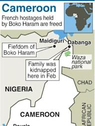 """Map of Cameroon and NE Nigerias howing where a French family was kidnapped in February. Cameroon's President Paul Biya said in a statement read on national radio that the hostages -- who were seized by six gunmen on February 19 and taken to neighbouring Nigeria -- had been """"handed over last night to Cameroonian authorities"""""""