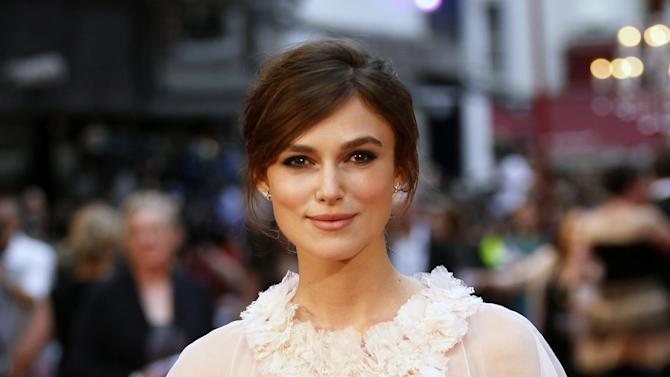 FILE- British actress Keira Knightley poses as she arrives for the world premiere of Anna Karenina in London, in this file photo dated Tuesday, Sept. 4, 2012.  French mayor Aime Navello said Sunday May 5, 2013, that he officiated on Saturday May 4, during the wedding of Oscar-nominated actress Keira Knightley to keyboard player for the Klaxon rock group James Righton, during a simple French ceremony at the Mazan town hall in southern France. (AP Photo/Sang Tan, File)