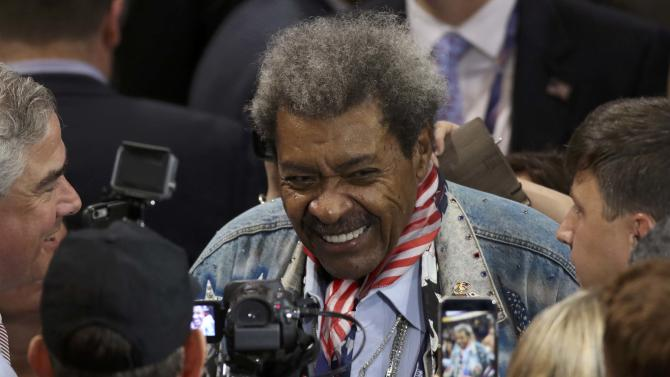 Boxing promotor Don King is seen on the convention floor during the third day of the Republican National Convention in Cleveland, Ohio