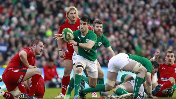 Ireland's Conor Murray clears the ball against Wales in their Six Nations rugby union match at Aviva stadium in Dublin