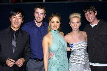 Premiere: Lenoardo Nam, Chris Evans, Erika Christensen, Scarlett Johansson and Bryan Greenberg at the LA premiere of The Perfect Score - 1/27/2004 Lester Cohen, Wireimage.com