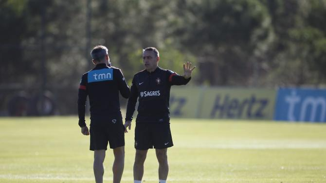 Portugal's coach Paulo Bento attends a training session in Obidos