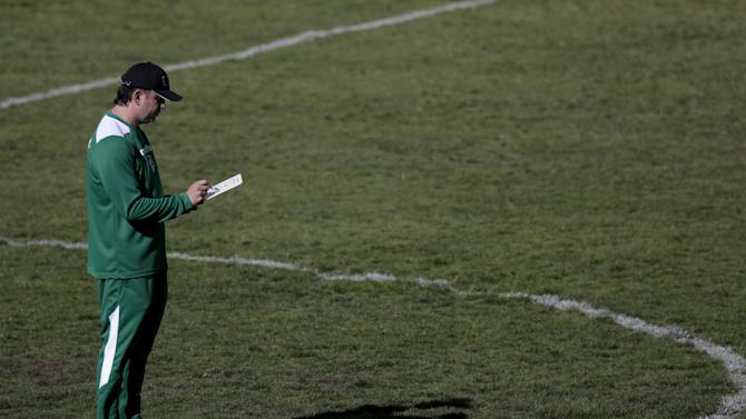 Baldivieso, head coach of Bolivia's national soccer team, is seen during a training session in La Paz