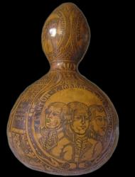 A gourd emblazoned with heroes of the French Revolution contained the blood of Louis XVI