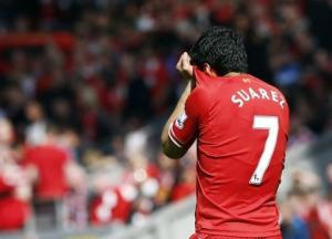 Liverpool's Luis Suarez reacts during their English Premier League soccer match against Chelsea at Anfield in Liverpool