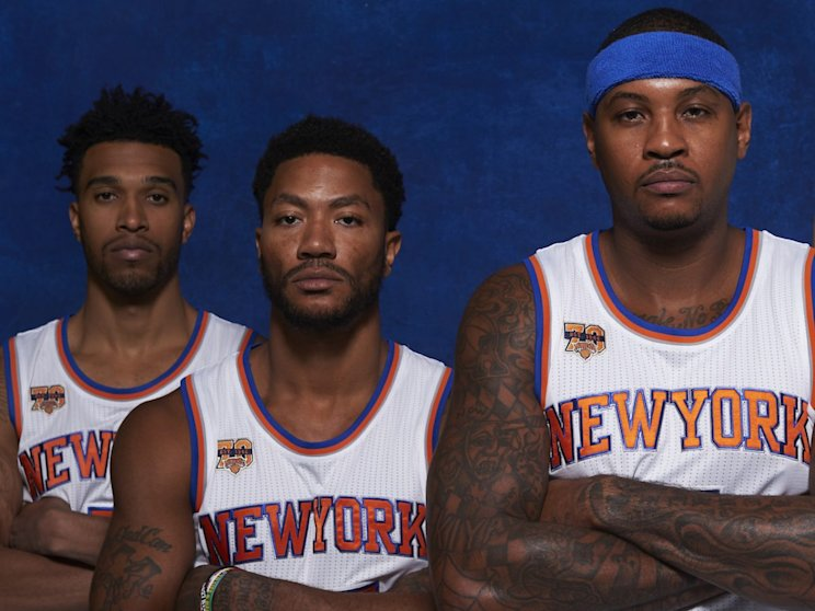 These guys couldn't be more excited to be playing for the Knicks right now. (Getty Images)