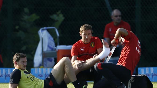 Belgian national soccer team player Vertonghen receives treatment during a training session in Brussels