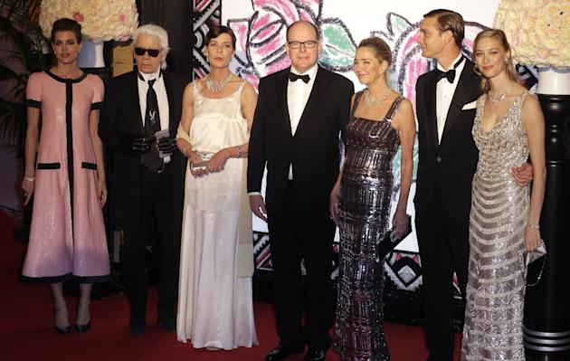 Prince Albert II of Monaco, right, Princess Caroline of Hanover, second right, her daughter Charlotte Casiraghi, left and son Pierre Casiraghi, second right, his girlfriend countess Beatrice Boromeo,