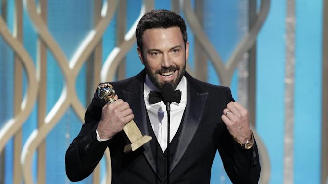 "This image released by NBC shows Ben Affleck with his award for best director for ""Argo"" during the 70th Annual Golden Globe Awards at the Beverly Hilton Hotel on Jan. 13, 2013, in Beverly Hills, Calif. (AP Photo/NBC, Paul Drinkwater)"