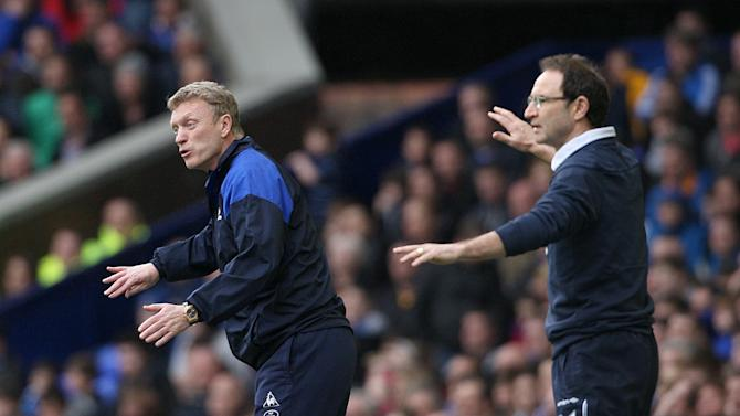 Martin O'Neill (right) and Everton manager David Moyes
