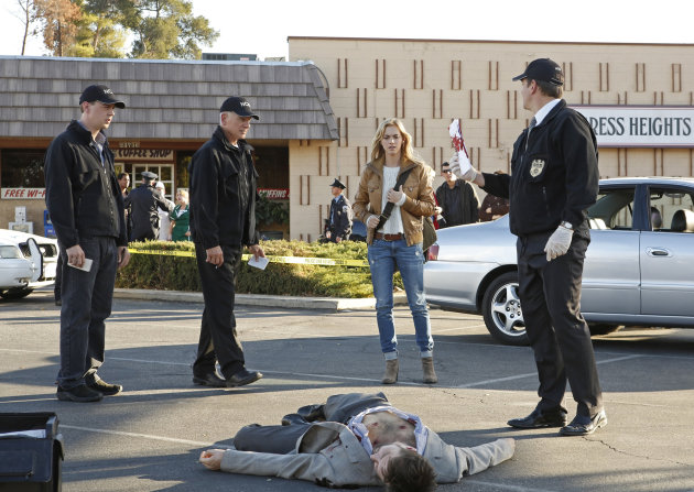 "Sean Murray, Mark Harmon, Emily Wickersham, and Michael Weatherly in ""NCIS"""