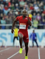 Asafa Powell competes in the 100m at the World Athletics Grand Prix in Ostrava, Czech Republic on June 27, 2013. Jamaican sprint star Powell, a former 100m world record holder, confirmed that he had tested positive for a banned stimulant at his country's national trials for Moscow