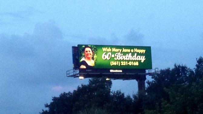 Florida Woman, Julie Bricker, Wishes Mom a Happy 60th on a Billboard
