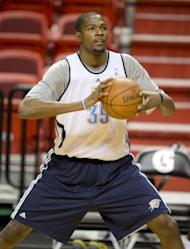 Oklahoma City Thunder player Kevin Durant trains during a practice at the American Airlines Arena in Miami, Florida. The Heat and the Oklahoma City Thunder are preparing for Game 5 of their NBA Finals scheduled for June 21