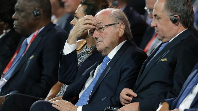 File photo of FIFA's President Blatter attending the preliminary draw for the 2018 FIFA World Cup at Konstantin Palace in St. Petersburg