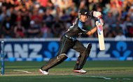 New Zealand's Brendon McCullum hits a shot during their second Twenty20 international against England in Hamilton on February 12, 2013. A captain's knock from McCullum helped New Zealand set England an imposing target of 193 after being sent into bat on Tuesday