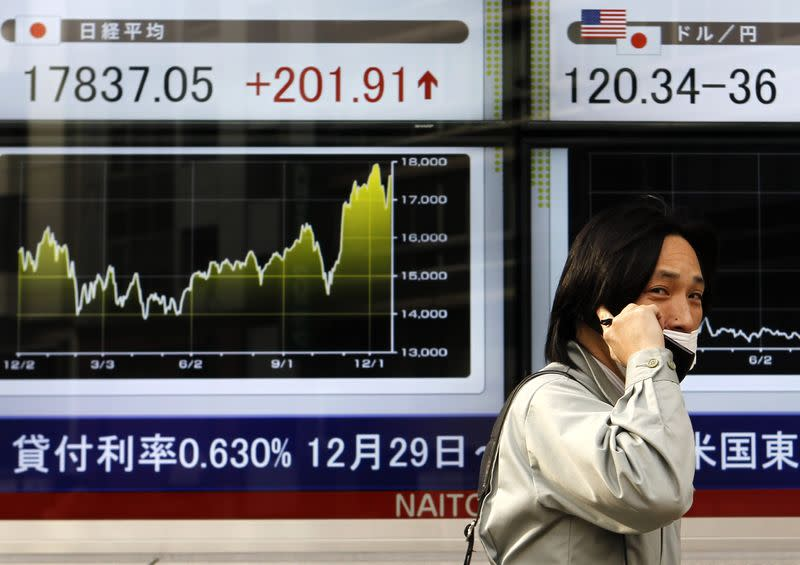 Asia follows Wall Street up, euro wobbles before Greek vote