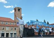 "US President Barack Obama waves as he arrives for a campaign event at the University of Colorado in Boulder. Obama said that Romney, with whom he is neck and neck in the polls ahead of the November election, had refused to reveal the ""secret sauce"" that would help him create jobs: ""he did not offer a single new idea."""