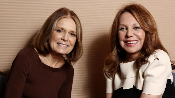 """In this Tuesday, Jan. 15, 2013 photo, Gloria Steinem, left, and Marlo Thomas, from the program """"Makers: Women Who Make America,"""" pose together for a portrait during the PBS Winter TCA Tour at the Langham Huntington Hotel, in Pasadena, Calif. """"Makers: Women Who Make America,"""" a three-hour PBS documentary about the fight for women's equality, airs Tuesday, Feb. 26, 2013, and features prominent activists including Steinem and Thomas. (Photo by Matt Sayles/Invision/AP)"""