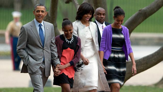 Obama Family Attends Easter Service at St. John's