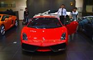 Luxury European sports cars at a showroom in Beijing on September 4, 2012